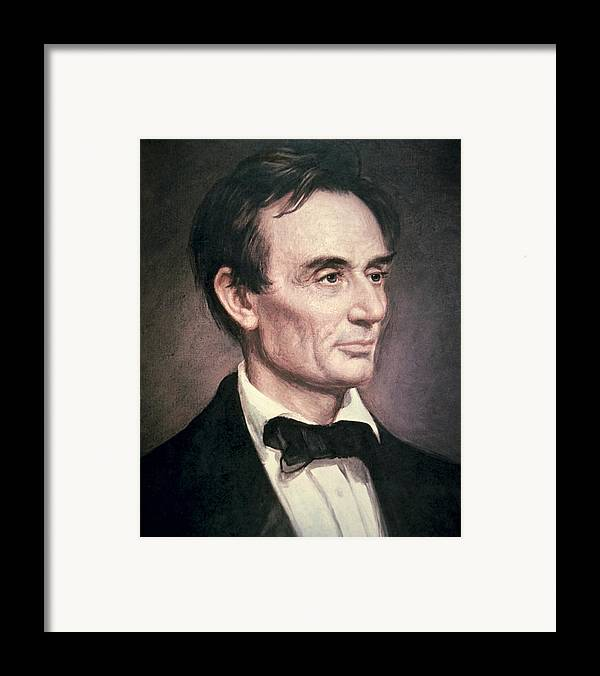 Male; Portrait; American; Statesman; Politician; Politics; Political Figure ;orator; Anti-slavery; Abolitionist; Us; Usa Framed Print featuring the painting Abraham Lincoln by George Peter Alexander Healy