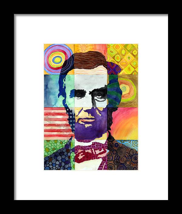 Abraham Framed Print featuring the painting Abraham Lincoln Portrait Study by Hailey E Herrera