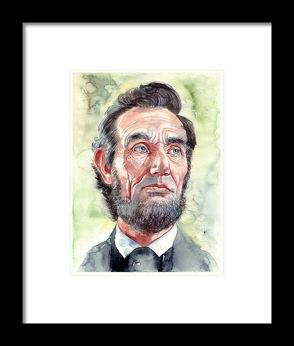 Abraham Framed Print featuring the painting Abraham Lincoln portrait by Suzann Sines