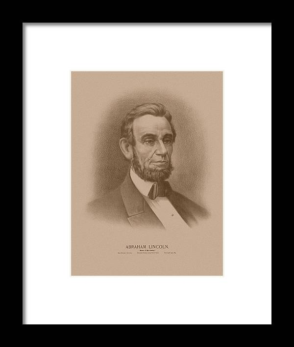 Abraham Lincoln Framed Print featuring the drawing Abraham Lincoln - Savior Of His Country by War Is Hell Store