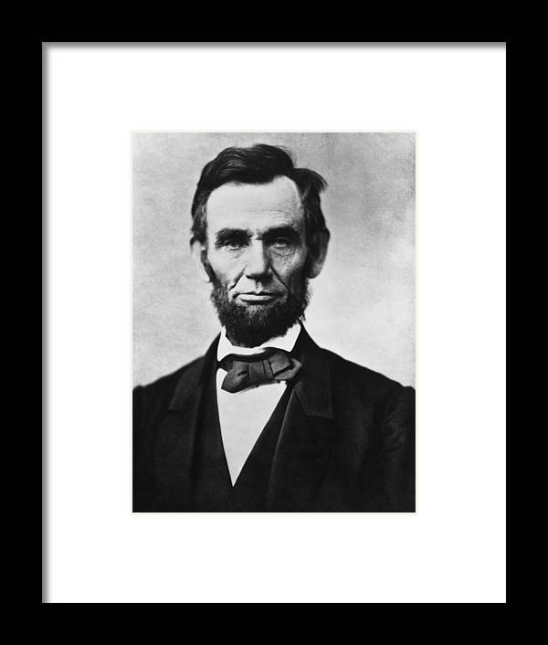 Abraham Lincoln Framed Print featuring the photograph Abraham Lincoln by War Is Hell Store