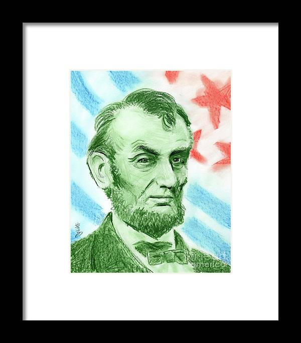 Abraham Lincoln Framed Print featuring the drawing Abraham Lincoln by Yoshiko Mishina