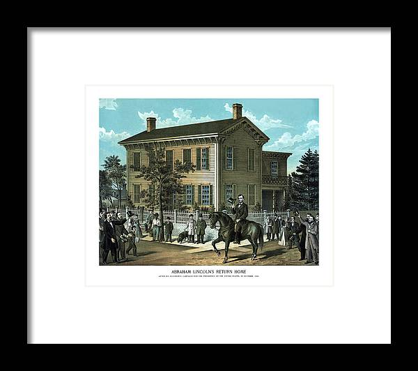 Abraham Lincoln Framed Print featuring the painting Abraham Lincoln's Return Home by War Is Hell Store