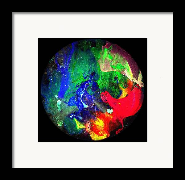 Round Framed Print featuring the painting Abstract - Evolution Series 1002 by Dina Sierra