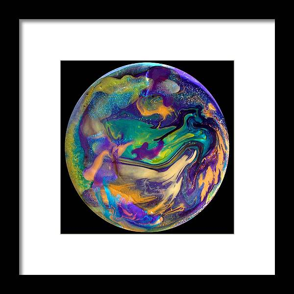 Abstract Framed Print featuring the painting Abstract - Evolution Series 1039 by Dina Sierra