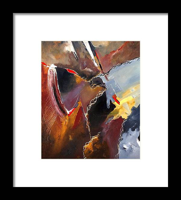 Abstract Framed Print featuring the painting Abstract 020606 by Pol Ledent