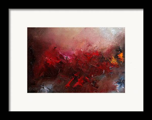 Abstract Framed Print featuring the painting Abstract 056 by Pol Ledent