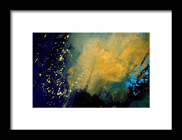 Abstract Framed Print featuring the painting Abstract 061 by Pol Ledent