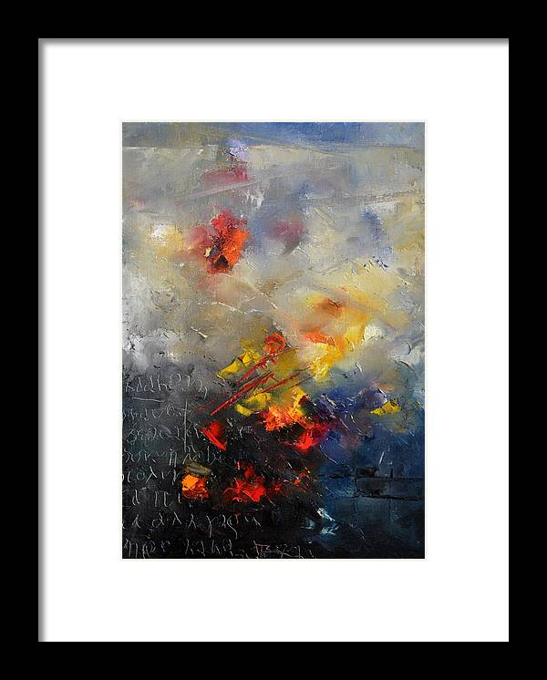 Abstract Framed Print featuring the painting Abstract 0805 by Pol Ledent