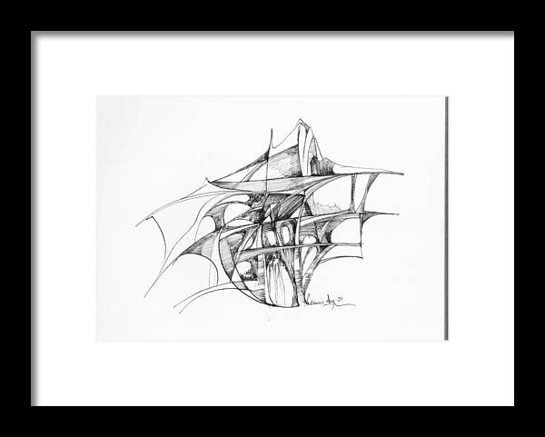 Abstract Framed Print featuring the drawing Abstract 1 by Padamvir Singh