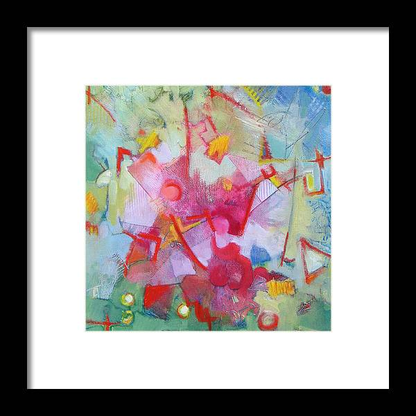 Abstract Framed Print featuring the painting Abstract 2 With Inscribed Red by Susanne Clark