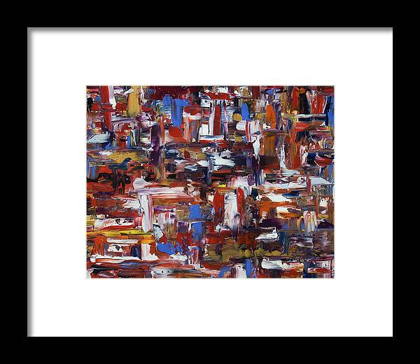 Abstract Framed Print featuring the painting Abstract 28965 by Brad Rickerby