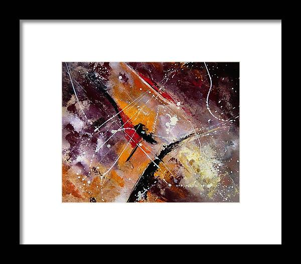 Abstract Framed Print featuring the painting Abstract 45 by Pol Ledent