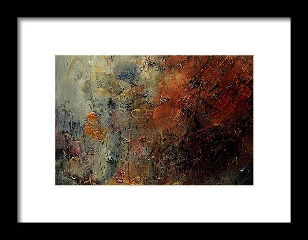 Abstract Framed Print featuring the painting Abstract 900192 by Pol Ledent