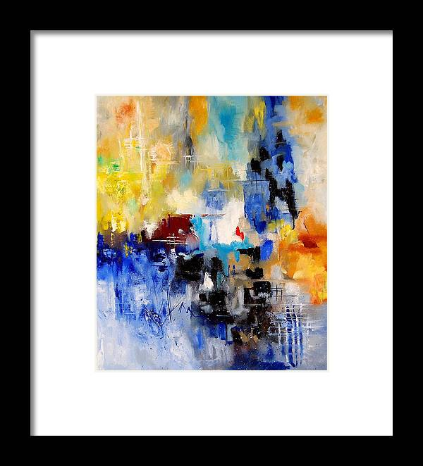 Abstract Framed Print featuring the painting Abstract 905003 by Pol Ledent