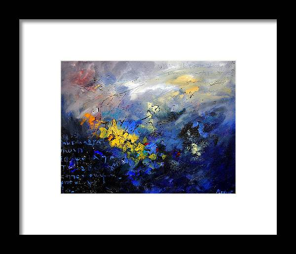 Abstract Framed Print featuring the painting Abstract 970208 by Pol Ledent