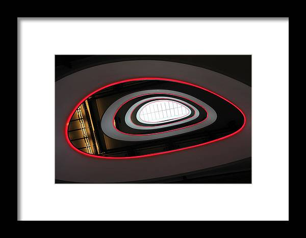 Architecture Framed Print featuring the photograph Abstract Architectural Ceiling And Staircase, Curves And Round Lines by Lukasz Szczepanski