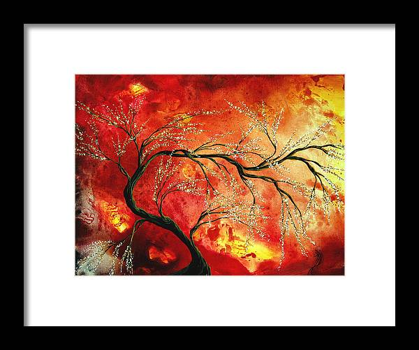 Abstract Framed Print featuring the painting Abstract Art Floral Tree Landscape Painting Fresh Blossoms By Madart by Megan Duncanson