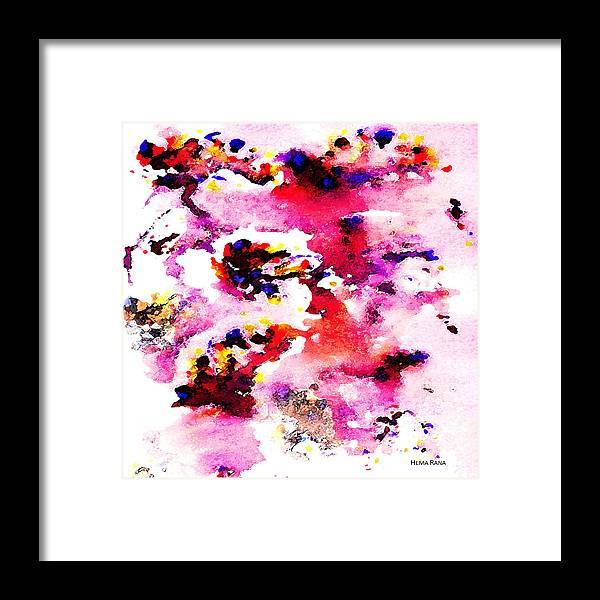 Abstract Art Framed Print featuring the painting Abstract Art by Hema Rana