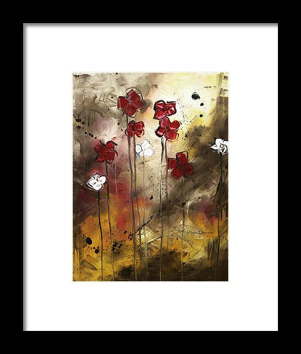 Abstract Framed Print featuring the painting Abstract Art Original Flower Painting Floral Arrangement By Madart by Megan Duncanson