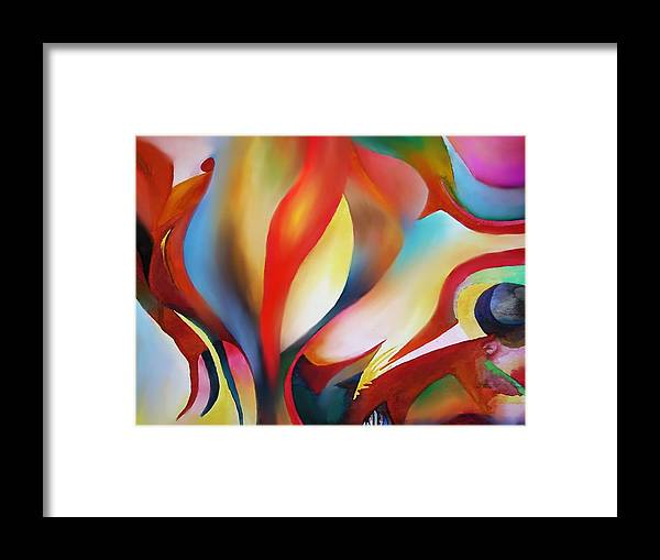Angels Framed Print featuring the painting Abstract Beings by Peter Shor