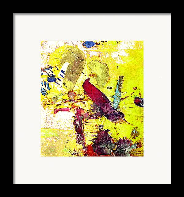 Bird Framed Print featuring the photograph Abstract Bird On Yellow by Lawrence Costales