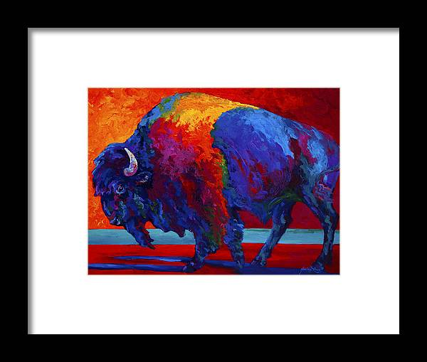 Bison Framed Print featuring the painting Abstract Bison by Marion Rose