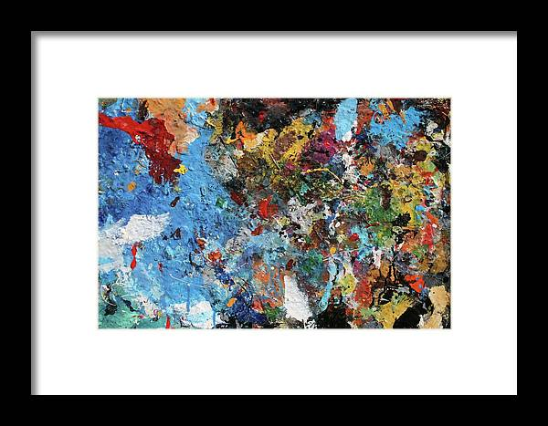 Crazy Mix Of Colors To Create An Abstract Vision. Framed Print featuring the painting Abstract Blue Blast by Melinda Saminski