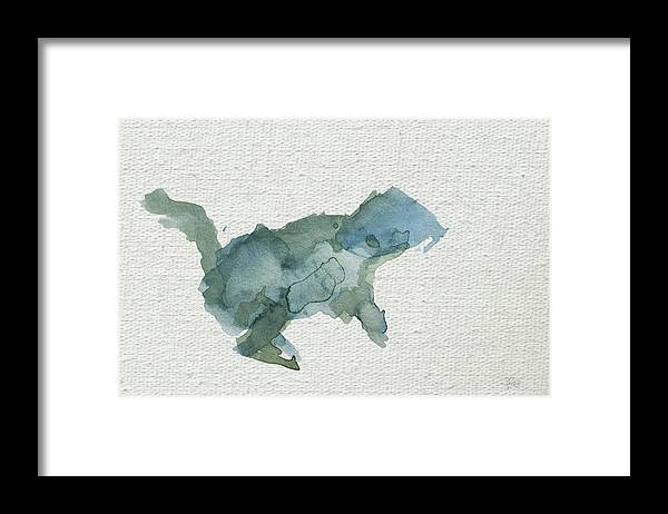 Squirrel Framed Print featuring the painting Abstract Blue Squirrel by Stephanie Peters