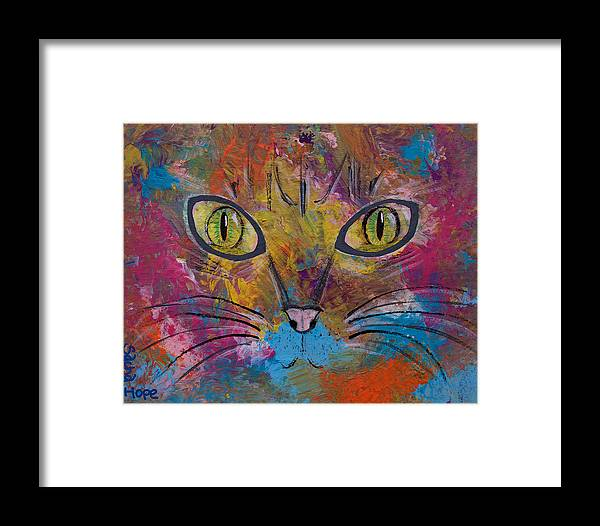 Abstract Framed Print featuring the painting Abstract Cat Meow by Sacha Hope