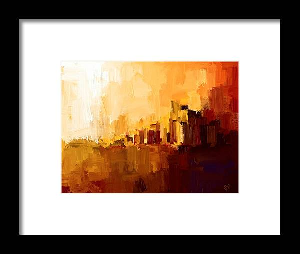 City Framed Print featuring the painting Abstract City by Bruce Young