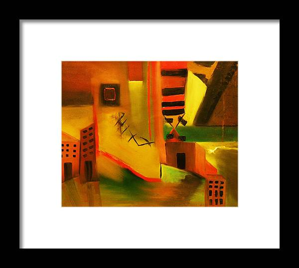 Abstract Framed Print featuring the painting Abstract Cityscape by Niki Sands