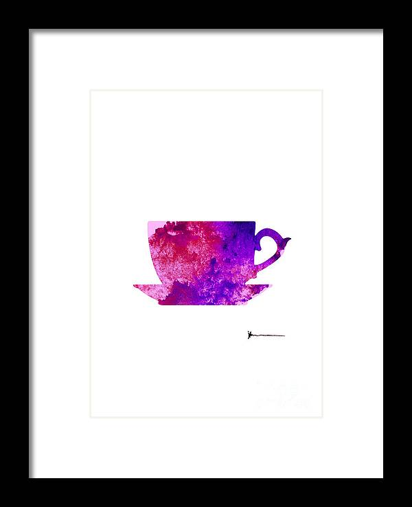 Abstract Framed Print featuring the painting Abstract Cup Of Tea Silhouette by Joanna Szmerdt
