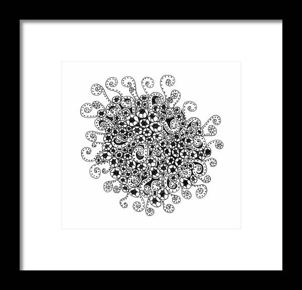 Abstract Framed Print featuring the drawing Abstract Curly Design In Black And White by Eric Strickland