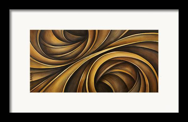 Earth Tones Brown Ribbon Abstract Flowing Motion Framed Print featuring the painting Abstract Design 34 by Michael Lang