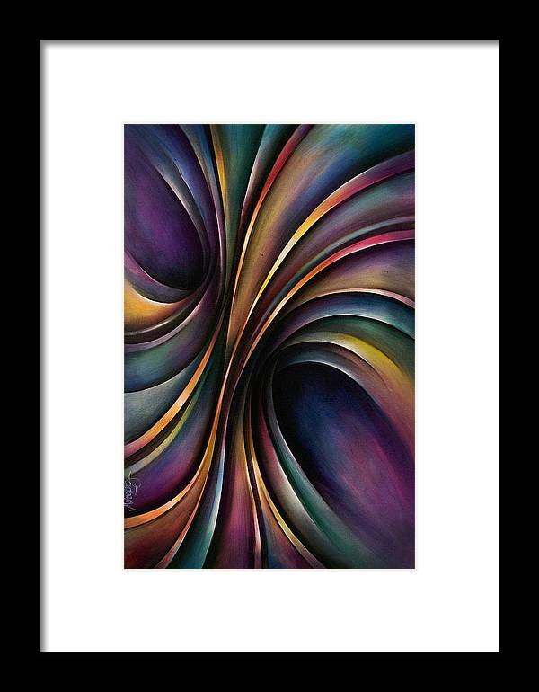 Chromatic Colorful Ribbon Multicolor Framed Print featuring the painting Abstract Design 55 by Michael Lang
