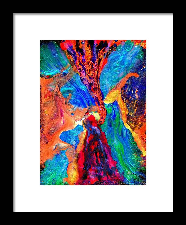 Abstract Framed Print featuring the painting Abstract - Evolution Series 1004 by Dina Sierra