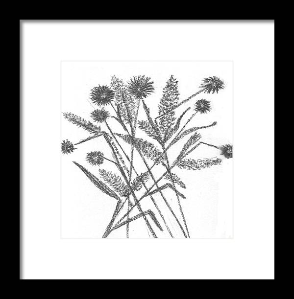 Abstract Flowers Framed Print featuring the drawing Abstract Flowers 5 by Hema Rana