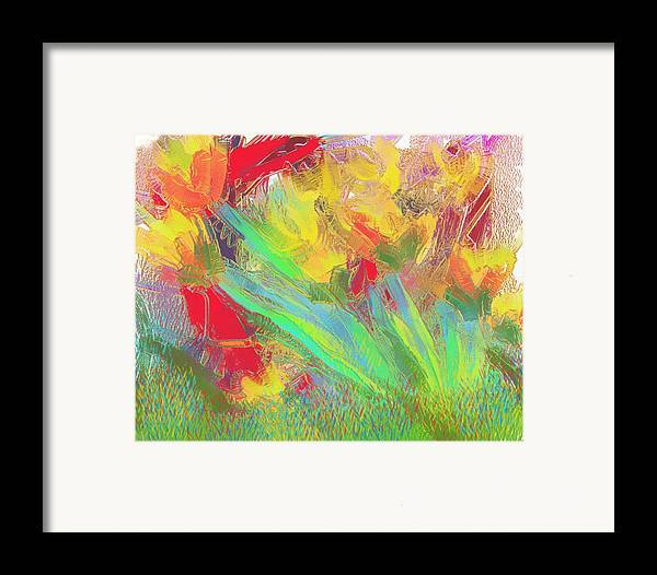 Abstract Framed Print featuring the painting Abstract Flowers by Harry Dusenberg