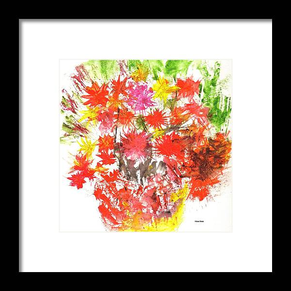 Abstract Flowers Framed Print featuring the painting Abstract Flowers by Hema Rana