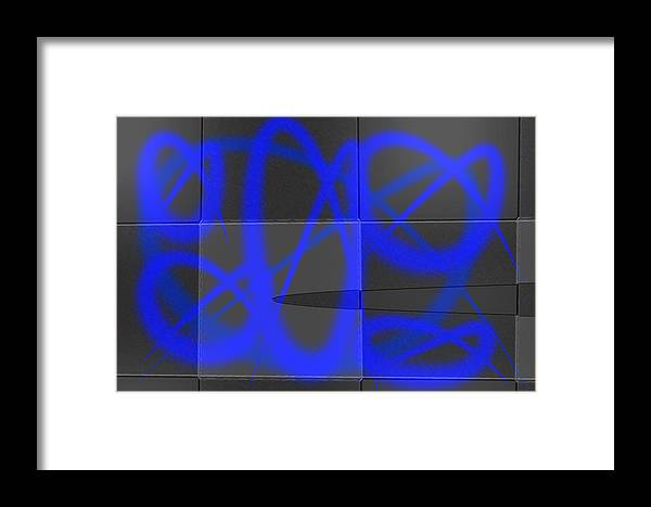 Abstract Framed Print featuring the mixed media Abstract Graffitis In Blue by Martine Affre Eisenlohr