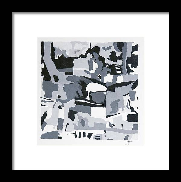 Design Framed Print featuring the painting Abstract Grey by Joseph Bradley
