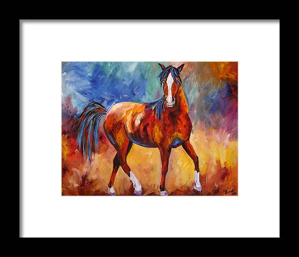 Horse Framed Print featuring the painting Abstract Horse Attitude by Mary Jo Zorad