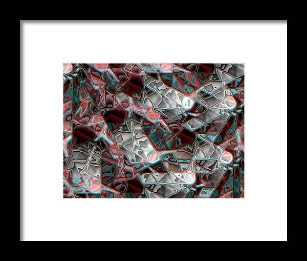 Abstract Framed Print featuring the digital art Abstract In Black And Red by Ron Bissett