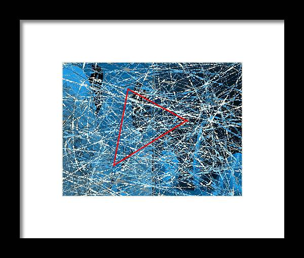 Abstract Framed Print featuring the digital art Abstract in blue and red by Joseph Ferguson