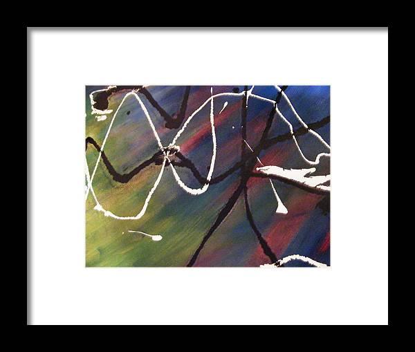 Abstract Framed Print featuring the painting Abstract In Blue by Kim Rahal
