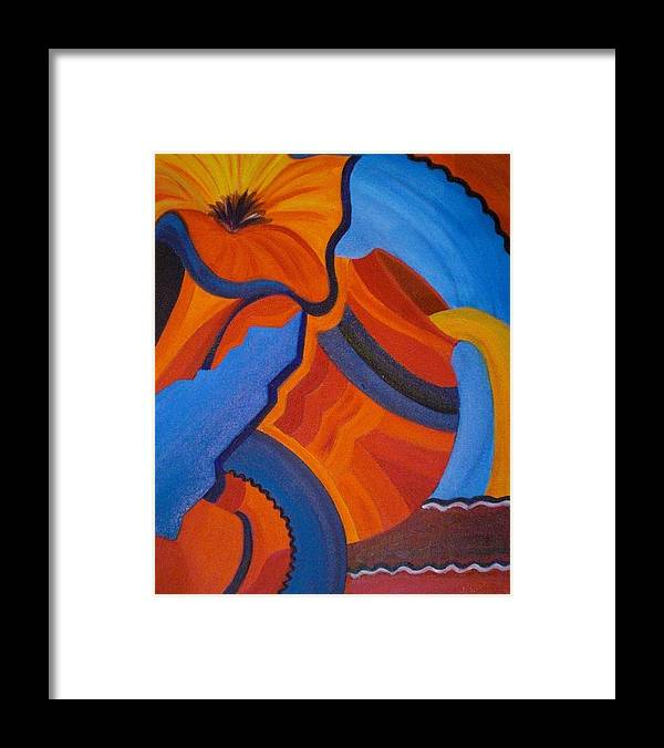 Orange Framed Print featuring the painting Abstract In Orange And Blue by Nancy Sisco