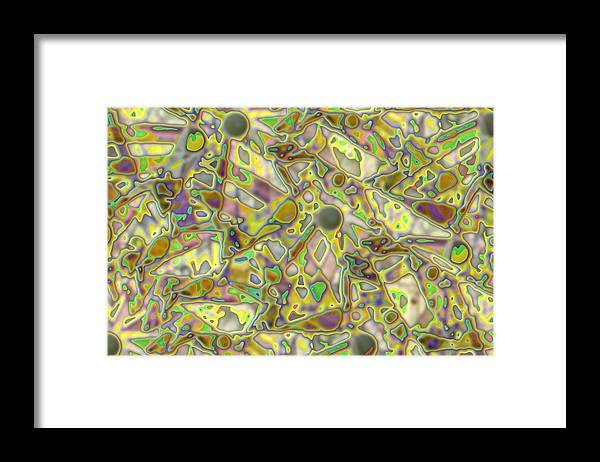Abstract Framed Print featuring the digital art Abstract In Purple With Green by Ron Bissett