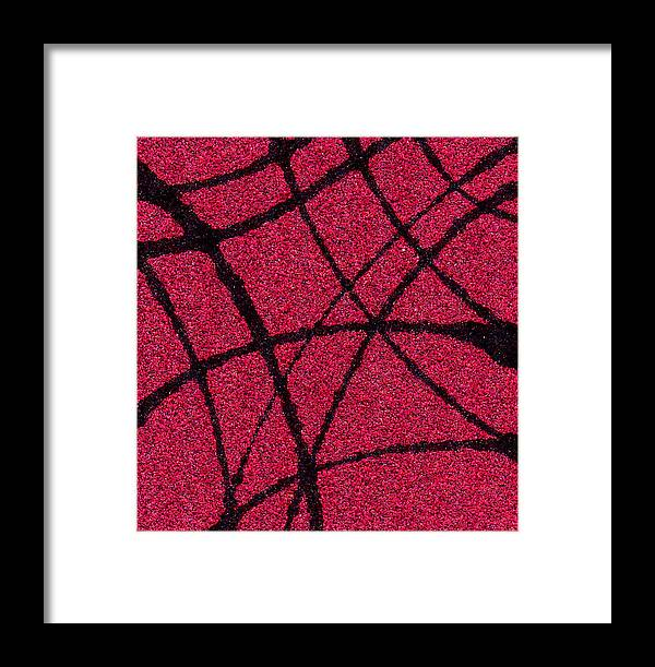 Abstract Framed Print featuring the painting Abstract In Red And Black by Wayne Potrafka