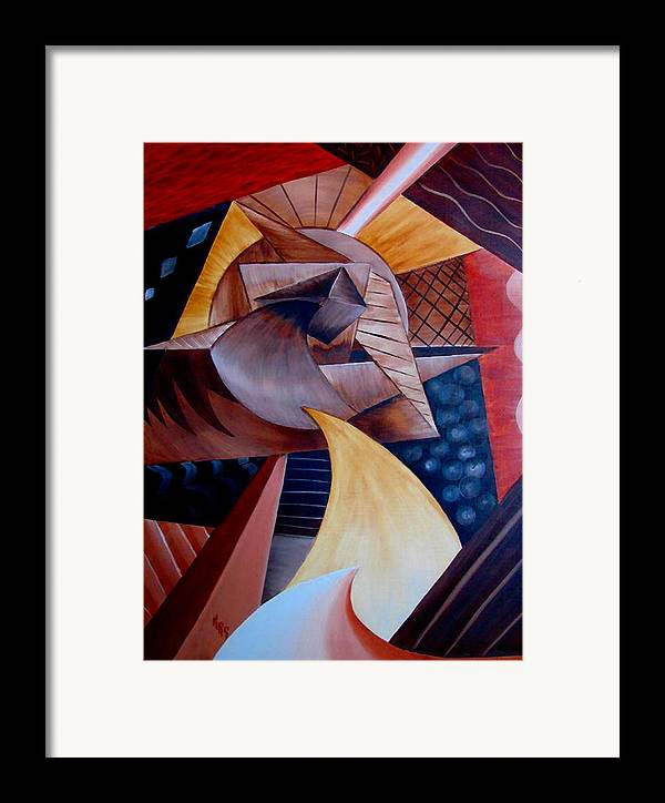 Abstract Framed Print featuring the painting Abstract by Karen R Scoville